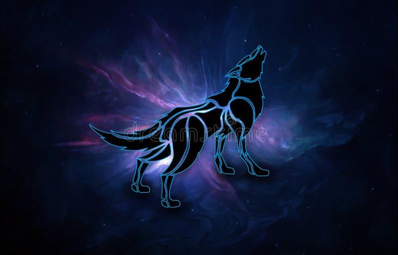 Ο αφηρημένος καλλιτεχνικός τρισδιάστατος υπολογιστής παρήγαγε την απεικόνιση ενός λύκου σε ένα υπόβαθρο γαλαξιών νεφελώματος διανυσματική απεικόνιση