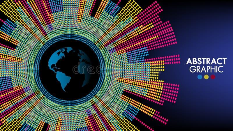 Ο αφηρημένος κόσμος τεχνολογίας και επιστήμης, ζωηρόχρωμο γήινο γραφικό σχέδιο μπορεί να χρησιμοποιηθεί για το επιχειρησιακό info απεικόνιση αποθεμάτων