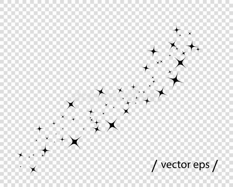 Ο αφηρημένος Μαύρος αστεριών Ουρά κομητών Μονοχρωματικός λάμψτε της αγνότητας Διανυσματικό πρότυπο στοιχείων που απομονώνεται σε  απεικόνιση αποθεμάτων