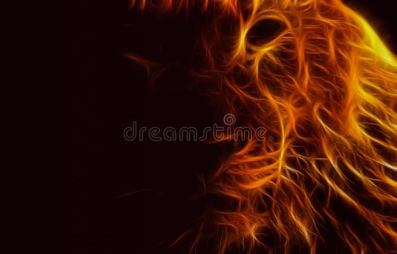 Ο αφηρημένος Μαύρος σκοταδιού φλογών λιονταριών εικόνας απεικόνιση αποθεμάτων