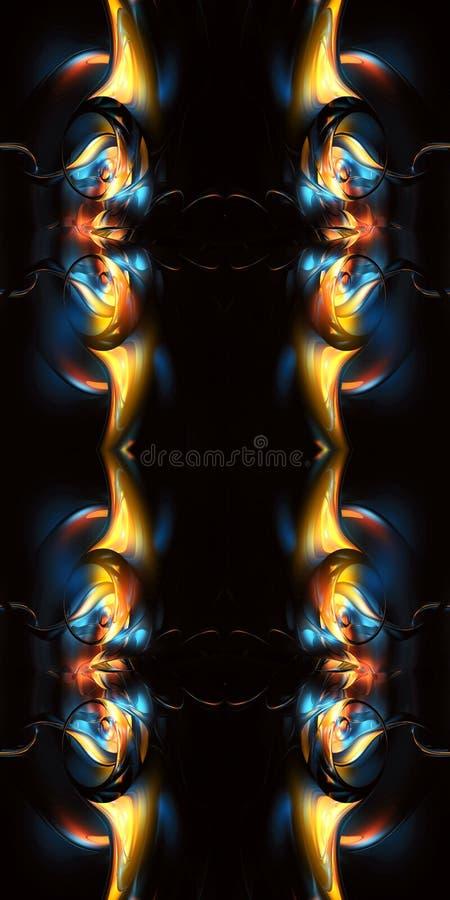 Ο αφηρημένος μοναδικός καλλιτεχνικός πολύχρωμος τρισδιάστατος υπολογιστής παρήγαγε το ενδιάμεσο curvy fractals έργο τέχνης μορφών ελεύθερη απεικόνιση δικαιώματος