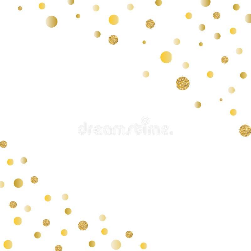 Ο αφηρημένος χρυσός ακτινοβολεί υπόβαθρο με το κομφετί σημείων Πόλκα επίσης corel σύρετε το διάνυσμα απεικόνισης ελεύθερη απεικόνιση δικαιώματος