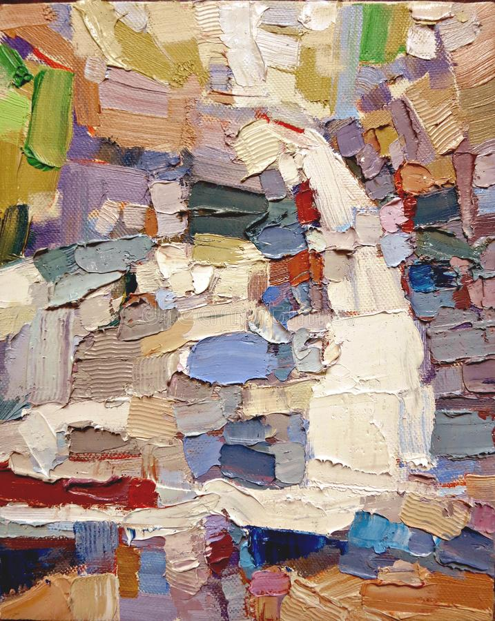 Ο αφηρημένος expressionism κρότωνας χρωματίζει την ακρυλική ελαιογραφία στοκ εικόνες