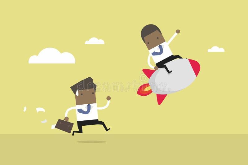 Ο αφρικανικός επιχειρηματίας οδηγά τον πύραυλο, έννοια επιχειρησιακού ανταγωνισμού Ανταγωνιστικό πλεονέκτημα ελεύθερη απεικόνιση δικαιώματος