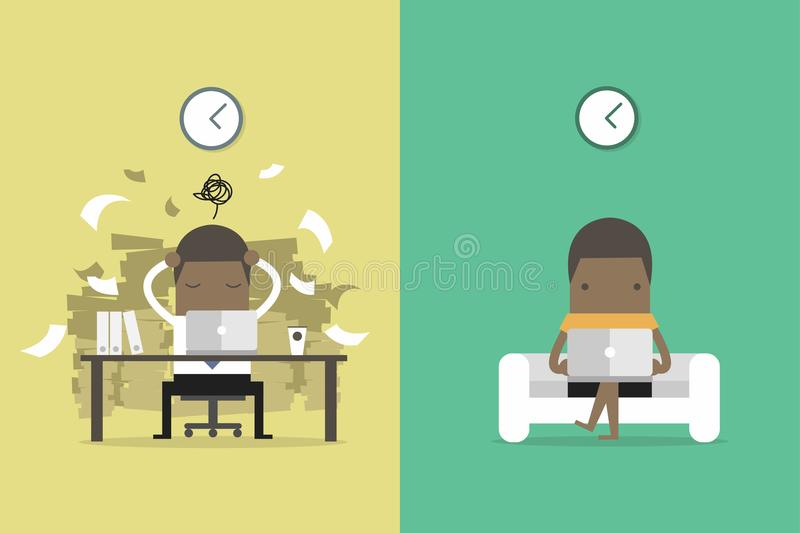 Ο αφρικανικός επιχειρηματίας παίρνει ανατροφοδοτεί από άλλους ανθρώπους Αφρικανικός επιχειρηματίας και ανεξάρτητη ζωή Κινούμενα σ διανυσματική απεικόνιση