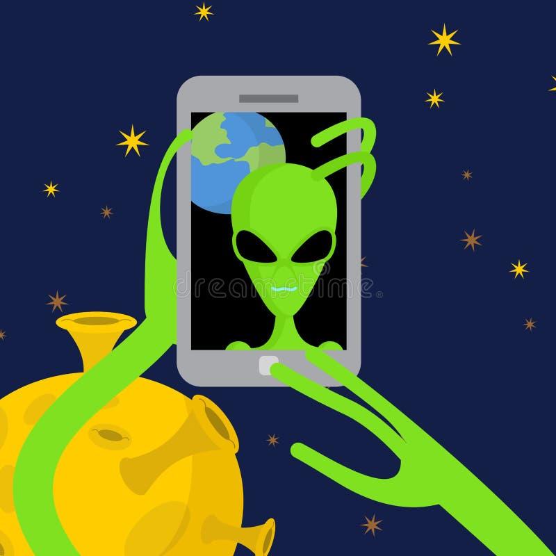 Ο αλλοδαπός κάνει selfie στο διάστημα Ο διαστημικός αλλοδαπός παίρνει τις εικόνες του herse απεικόνιση αποθεμάτων