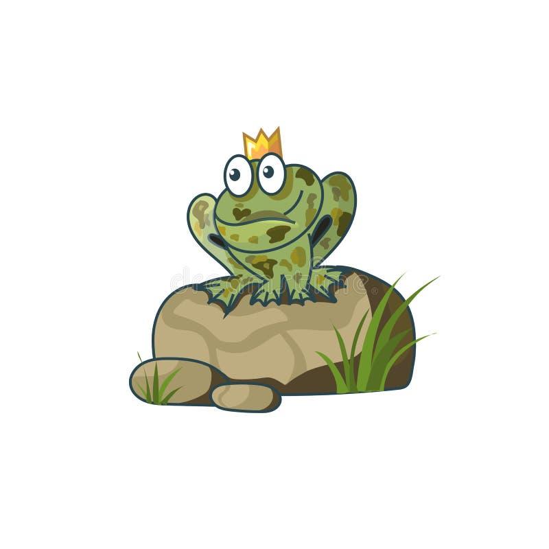 Ο βάτραχος πριγκηπισσών σε έναν βράχο που περιμένει την αγάπη απεικόνιση αποθεμάτων