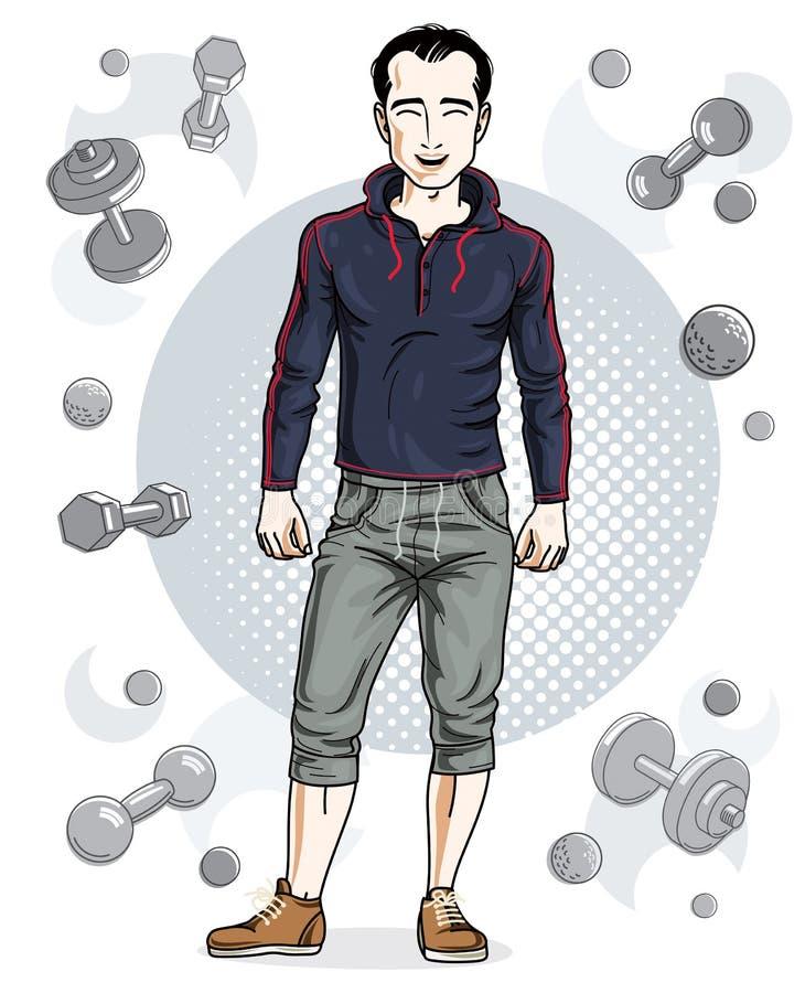 Ο βέβαιος όμορφος brunet νεαρός άνδρας στέκεται στο απλό backgr απεικόνιση αποθεμάτων