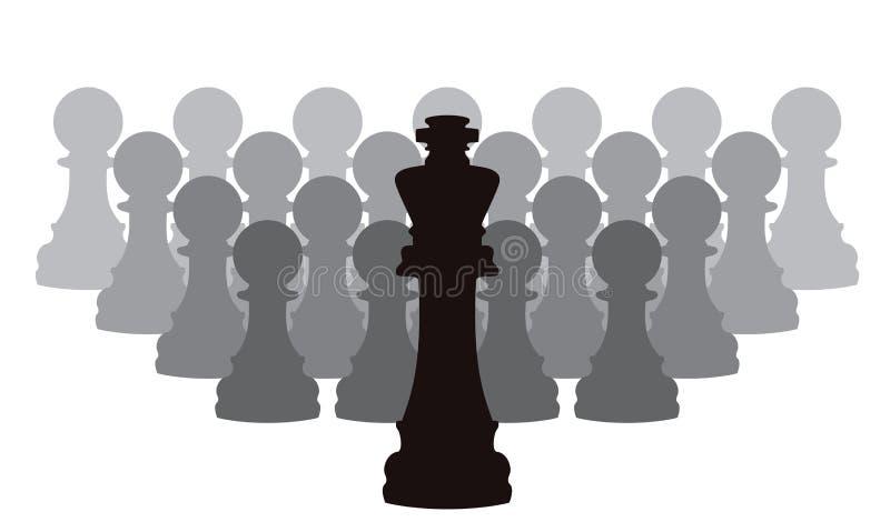 ο βασιλιάς σκακιού βάζει ενέχυρο το διάνυσμα κομματιών διανυσματική απεικόνιση