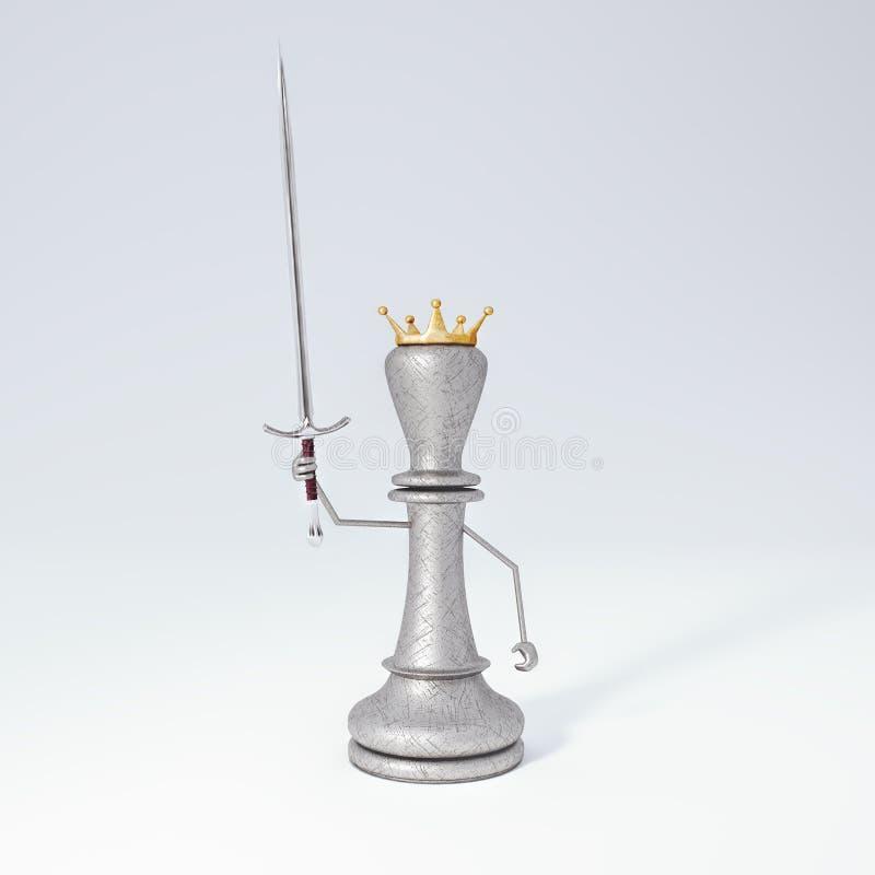 Ο βασιλιάς του σκακιού με το ξίφος τρισδιάστατο δίνει την τρισδιάστατη απεικόνιση απεικόνιση αποθεμάτων