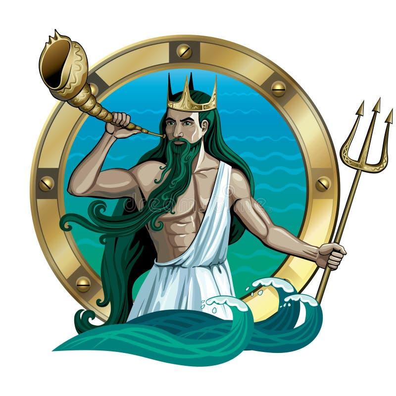 Ο βασιλιάς της θάλασσας Ποσειδώνας ελεύθερη απεικόνιση δικαιώματος