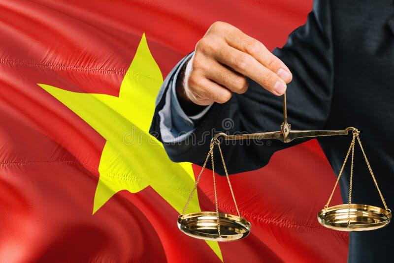 Ο βιετναμέζικος δικαστής κρατά τις χρυσές κλίμακες της δικαιοσύνης με το κυματίζοντας υπόβαθρο σημαιών του Βιετνάμ Θέμα ισότητας  στοκ φωτογραφίες με δικαίωμα ελεύθερης χρήσης