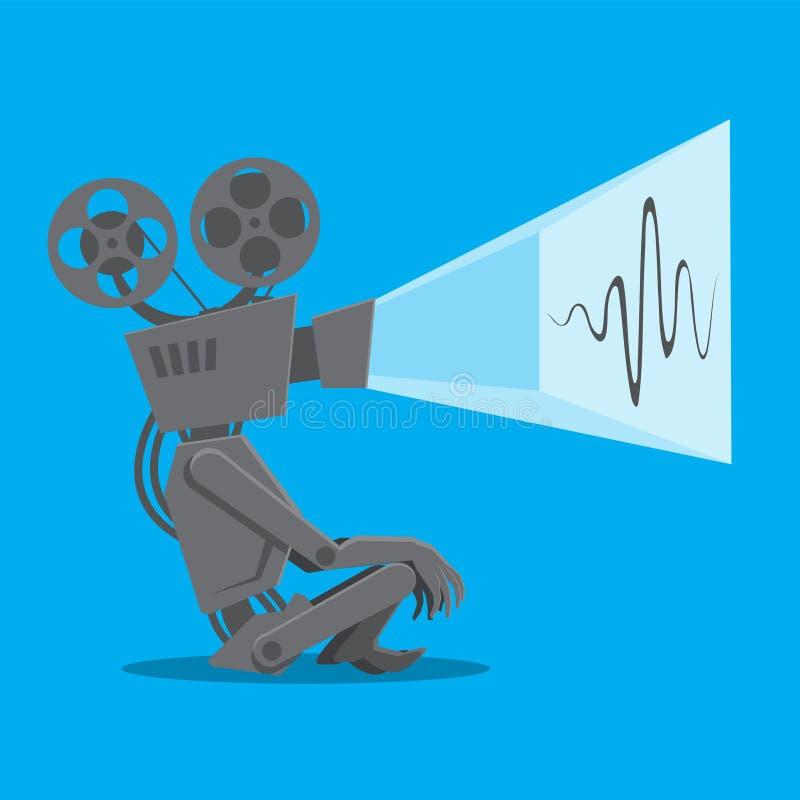 Ο βιντεοπροβολέας ταινιών vintage λειτουργεί σε απομονωμένο μπλε φόντο Διανυσματική εικόνα απεικόνιση αποθεμάτων