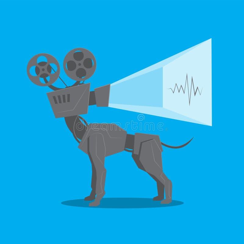 Ο βιντεοπροβολέας ταινιών vintage λειτουργεί σε απομονωμένο μπλε φόντο Διανυσματική εικόνα διανυσματική απεικόνιση