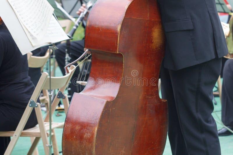 Ο βιολοντσελίστας φορέων βιολοντσέλων σε μια ελεύθερη υπαίθρια συναυλία σε ένα δημόσιο πάρκο, μουσικός παίζει το βιολοντσέλο στοκ φωτογραφία με δικαίωμα ελεύθερης χρήσης