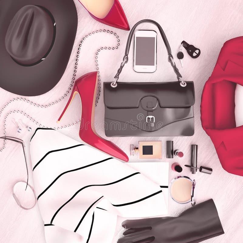Ο βοηθητικός κόκκινος ιματισμός μόδας γυναικών ` s και τα κόκκινα υψηλά τακούνια είναι LOC ελεύθερη απεικόνιση δικαιώματος