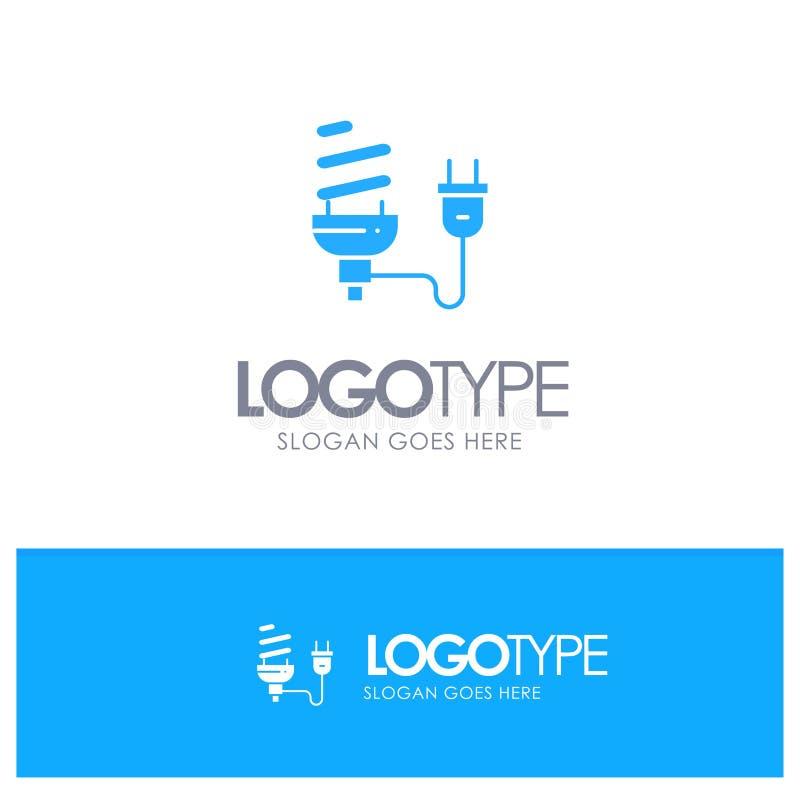 Ο βολβός, οικονομικός, ηλεκτρικός, ενέργεια, λάμπα φωτός, συνδέει το μπλε στερεό λογότυπο με τη θέση για το tagline διανυσματική απεικόνιση
