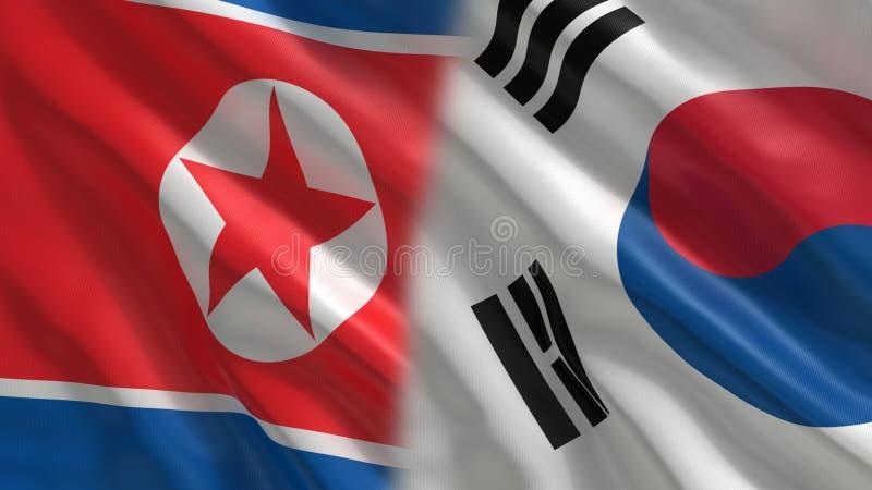 Ο Βορράς και νοτιοκορεατική σημαία διανυσματική απεικόνιση