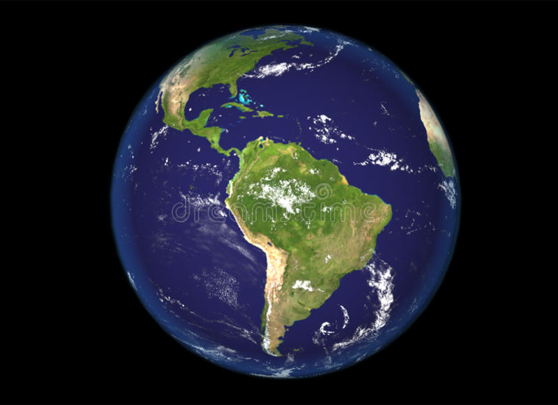 Ο Βορράς σφαιρών και απεικόνιση της Νότιας Αμερικής, τρισδιάστατος, γήινη σύσταση από τη NASA διανυσματική απεικόνιση