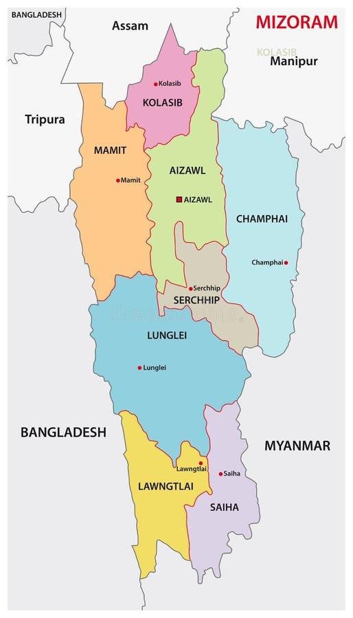 Ο Βορράς Mizoram - ανατολικός διοικητικός και πολιτικός διανυσματικός χάρτης περιοχών ελεύθερη απεικόνιση δικαιώματος