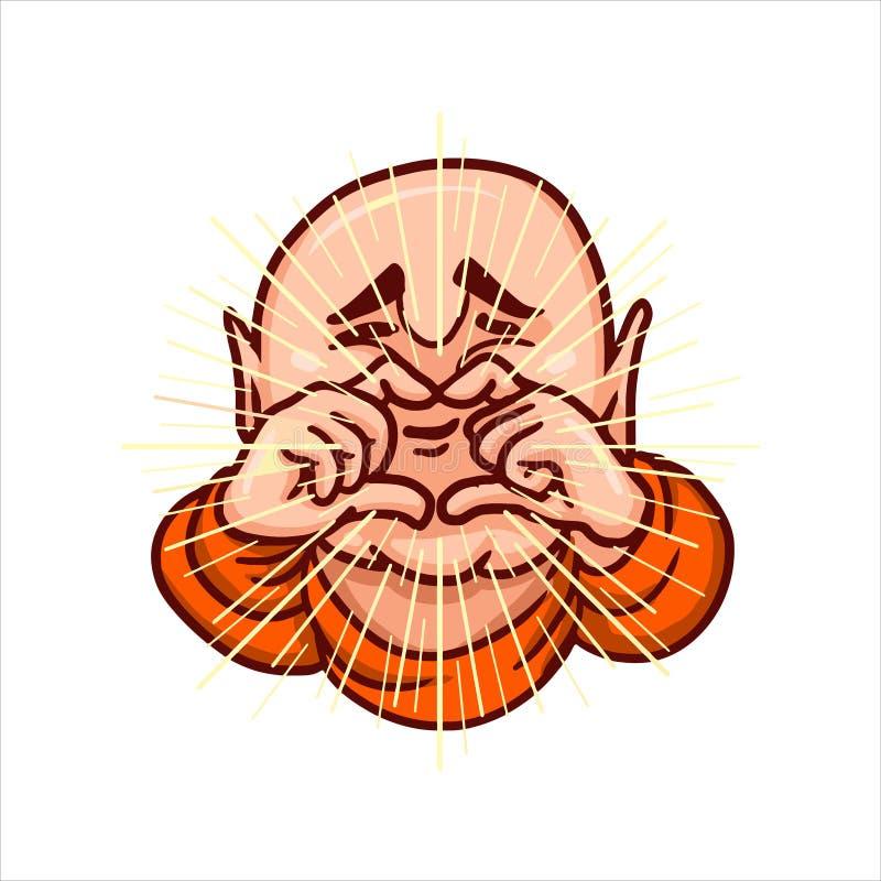 Ο Βούδας δίπλωσε τα δάχτυλά του με μορφή μιας καρδιάς και των χαμόγελων απεικόνιση αποθεμάτων