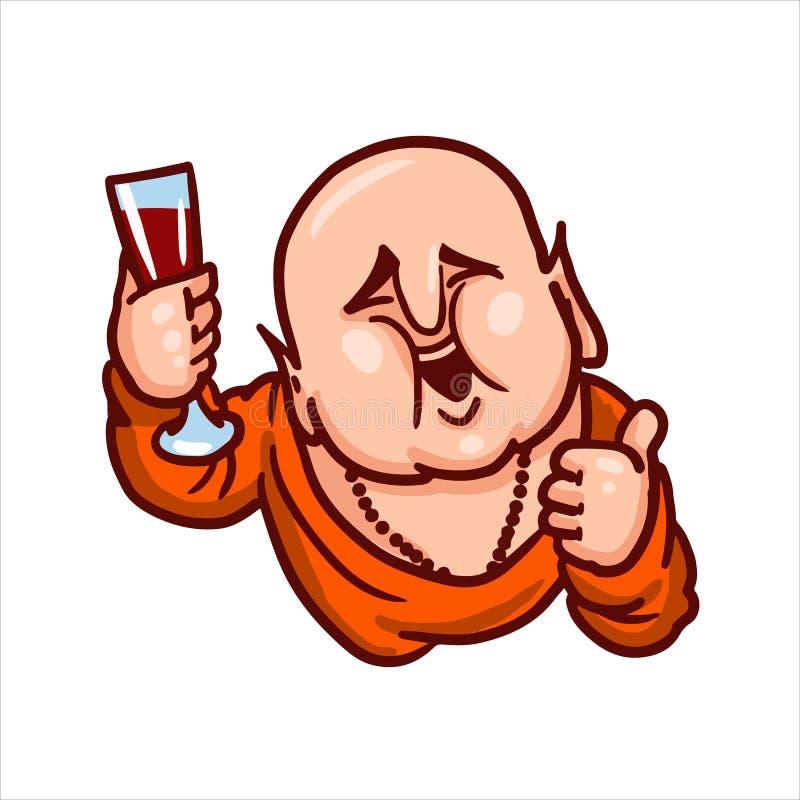 Ο Βούδας χαμογελά, παρουσιάζει αντίχειρα και κρατά ένα ποτήρι του κρασιού διανυσματική απεικόνιση