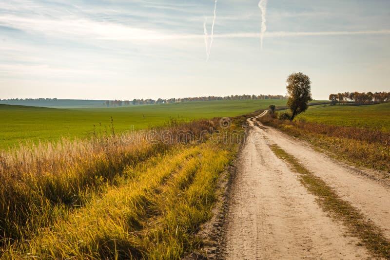 Ο βρώμικος δρόμος στον τομέα πηγαίνει στην απόσταση στοκ φωτογραφία με δικαίωμα ελεύθερης χρήσης