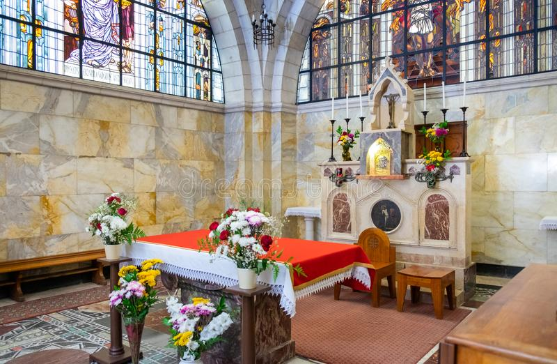Ο βωμός της εκκλησίας Flagellation, που βρίσκεται στο μουσουλμανικό τέταρτο της παλαιάς πόλης της Ιερουσαλήμ, Ισραήλ στοκ εικόνες με δικαίωμα ελεύθερης χρήσης