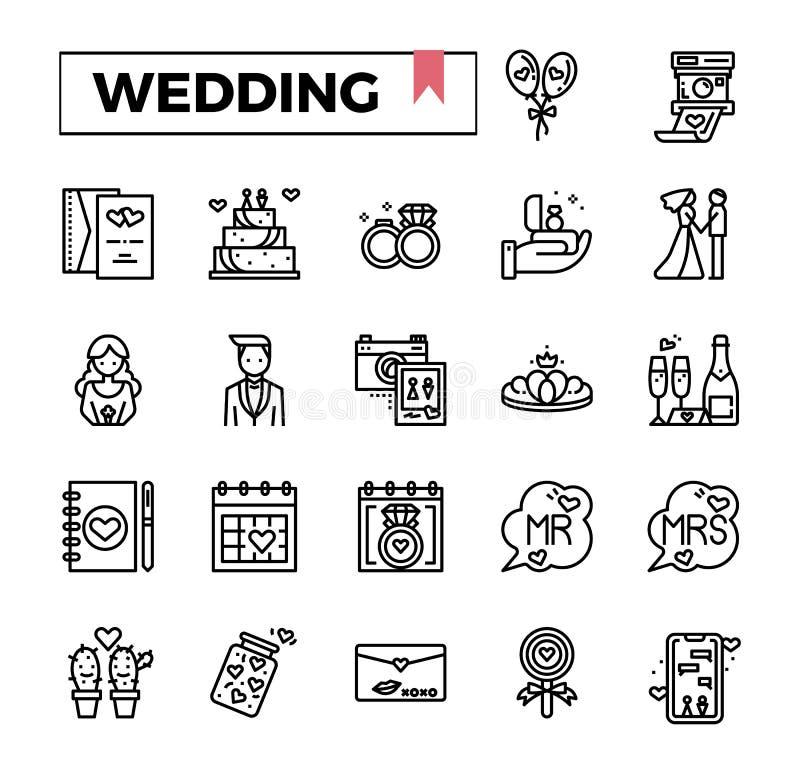 Σύνολο εικονιδίων γαμήλιων περιλήψεων απεικόνιση αποθεμάτων