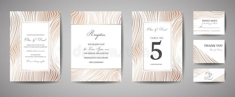 Ο γάμος πολυτέλειας σώζει την ημερομηνία, συλλογή καρτών ναυτικού πρόσκλησης με τη χρυσή ξύλινη σύσταση φύλλων αλουμινίου Διανυσμ διανυσματική απεικόνιση