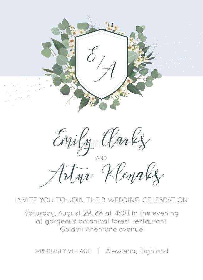 Ο γάμος προσκαλεί, πρόσκληση, εκτός από το floral σχέδιο καρτών ημερομηνίας Μονόγραμμα στεφανιών με τα ασημένια φύλλα πρασινάδων  απεικόνιση αποθεμάτων