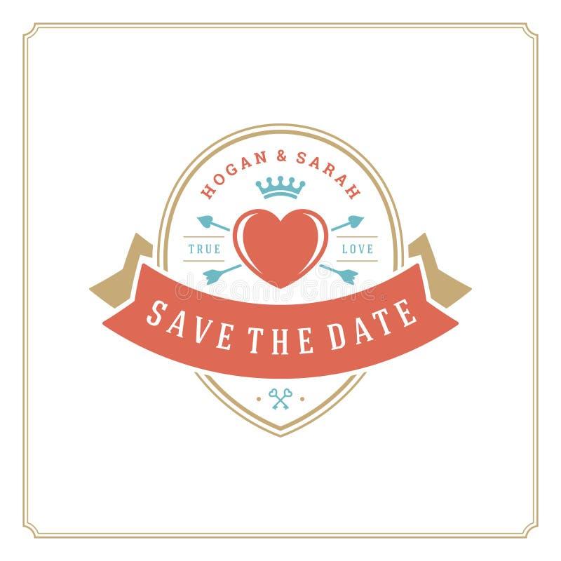 Ο γάμος σώζει στο πρότυπο σχεδίου καρτών πρόσκλησης ημερομηνίας τη διανυσματική απεικόνιση διανυσματική απεικόνιση
