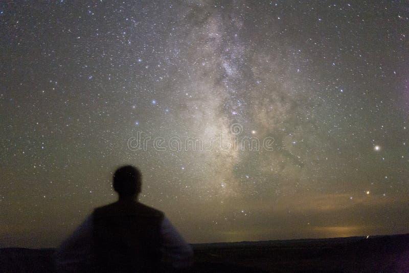 Ο γαλαξίας στην έρημο βραδιού Xinjiang στοκ εικόνες