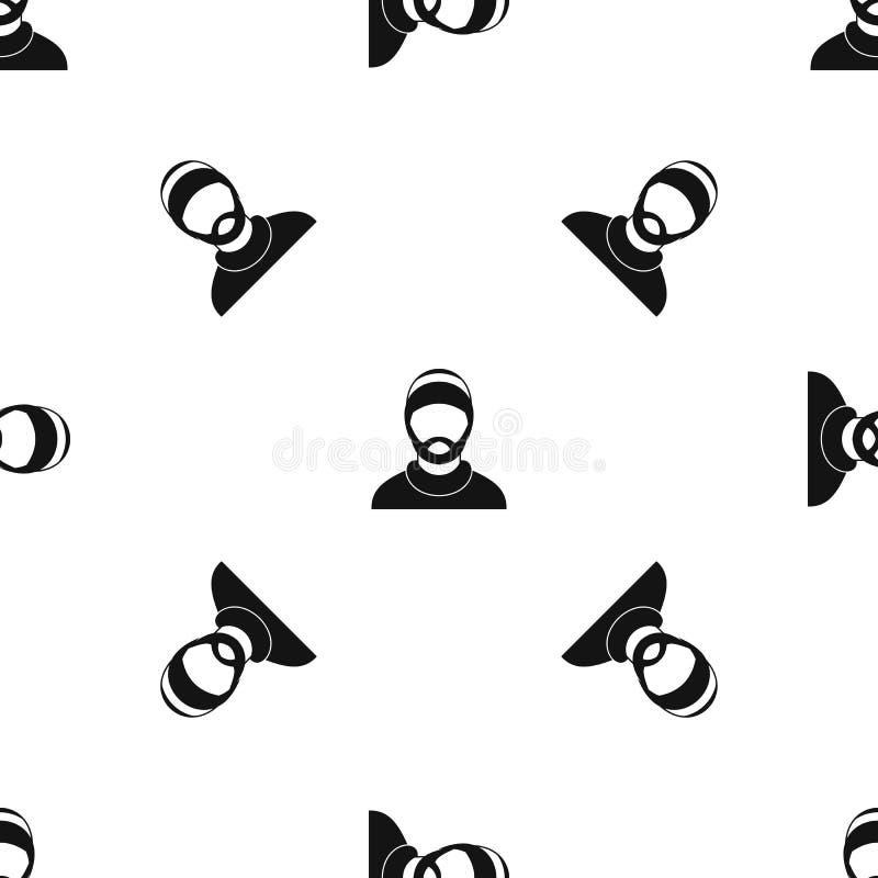 Ο γενειοφόρος άνευ ραφής Μαύρος σχεδίων ειδώλων ατόμων ελεύθερη απεικόνιση δικαιώματος