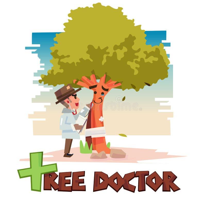 Ο γιατρός δέντρων παίρνει την προσοχή για το δέντρο χειρούργος δέντρων δενδροκόμων με τυπογραφικό για το σχέδιο επιγραφών προσοχή ελεύθερη απεικόνιση δικαιώματος