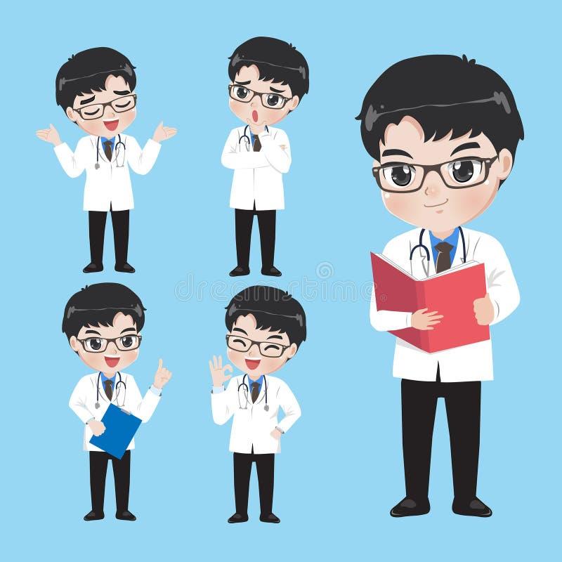 Ο γιατρός παρουσιάζει ποικίλες χειρονομίες και ενέργειες στα ενδύματα εργασίας απεικόνιση αποθεμάτων