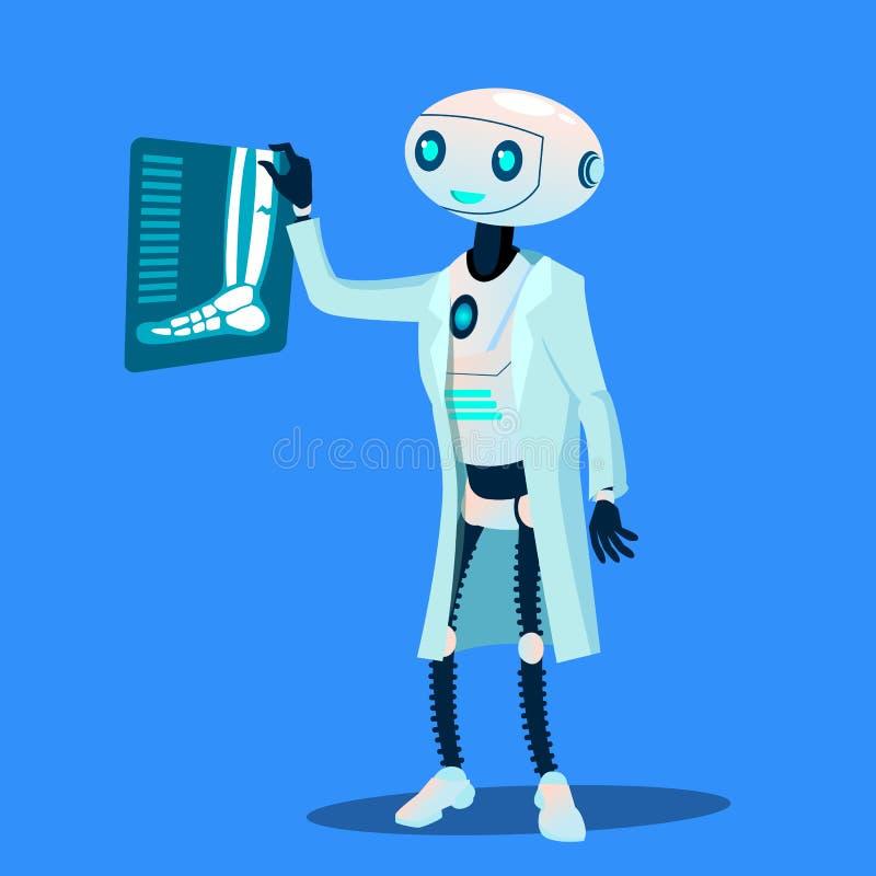 Ο γιατρός ρομπότ εξετάζει τη φωτογραφία ακτίνας X του σπασμένου διανύσματος ποδιών απομονωμένη ωθώντας s κουμπιών γυναίκα έναρξης διανυσματική απεικόνιση