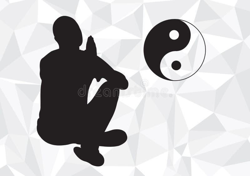 Ο γιόγκη στο Lotus θέτει στο γεωμετρικό γραπτό υπόβαθρο στοκ εικόνα