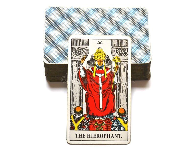 Ο γκουρού παράδοσης εκπαίδευσης οργάνων καρτών Hierophant Tarot ccult απεικόνιση αποθεμάτων