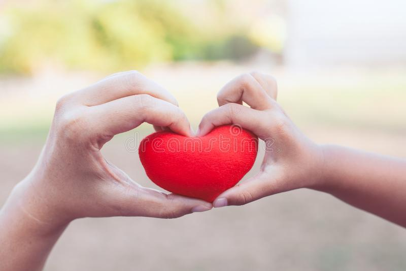 Ο γονέας και το παιδί που κρατούν την κόκκινη καρδιά στα χέρια και κάνουν τη μορφή καρδιών στοκ εικόνα με δικαίωμα ελεύθερης χρήσης