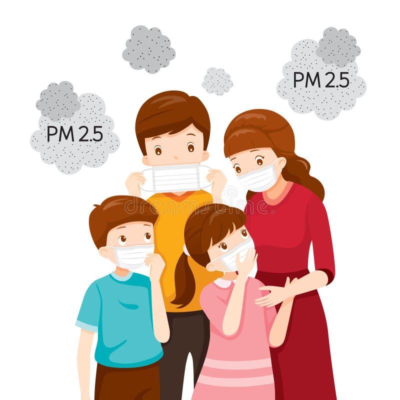Ο γονέας και το παιδί που φορούν τη μάσκα ατμοσφαιρικής ρύπανσης για προστατεύουν τη σκόνη PM2 5, PM10, καπνός, αιθαλομίχλη διανυσματική απεικόνιση