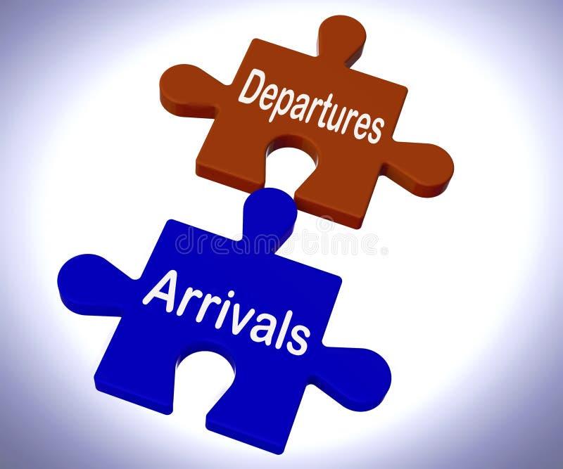 Ο γρίφος αφίξεων αναχωρήσεων σημαίνει τις διακοπές ή το ταξίδι διανυσματική απεικόνιση