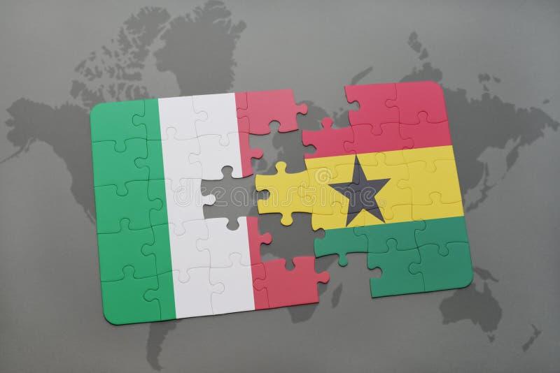 ο γρίφος με τη εθνική σημαία της Ιταλίας και η Γκάνα σε έναν κόσμο χαρτογραφούν το υπόβαθρο ελεύθερη απεικόνιση δικαιώματος