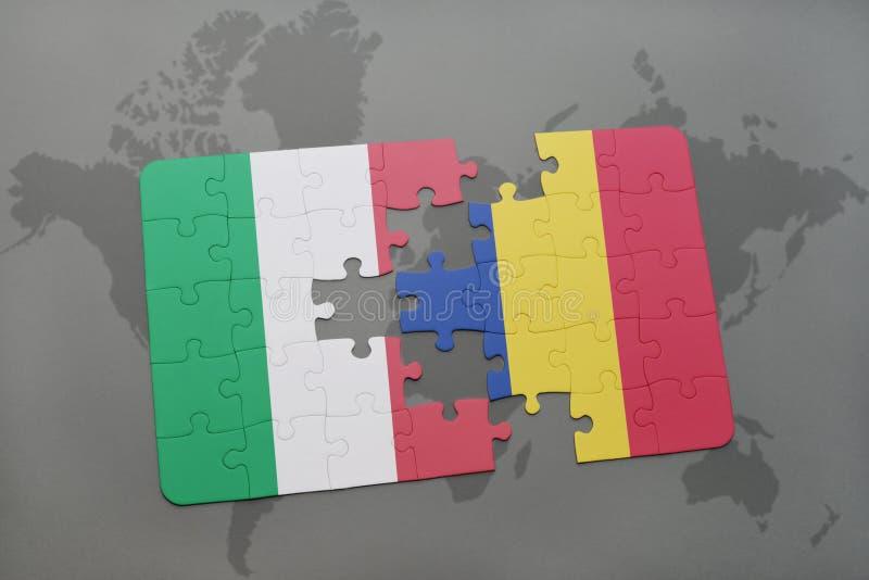 ο γρίφος με τη εθνική σημαία της Ιταλίας και η Ρουμανία σε έναν κόσμο χαρτογραφούν το υπόβαθρο ελεύθερη απεικόνιση δικαιώματος