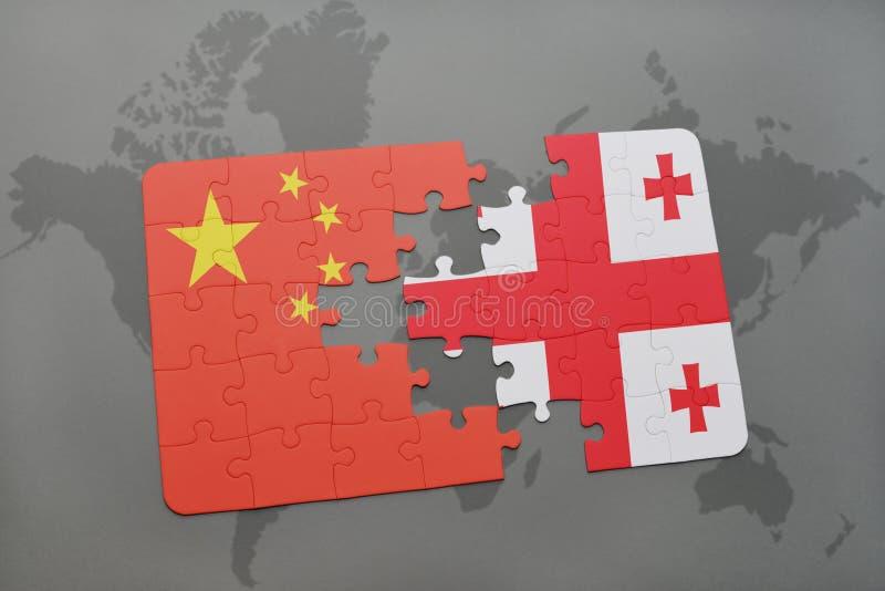 ο γρίφος με τη εθνική σημαία της Κίνας και η Γεωργία σε έναν κόσμο χαρτογραφούν το υπόβαθρο διανυσματική απεικόνιση