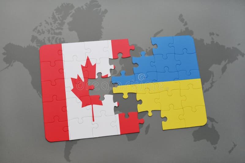 ο γρίφος με τη εθνική σημαία του Καναδά και η Ουκρανία σε έναν κόσμο χαρτογραφούν το υπόβαθρο απεικόνιση αποθεμάτων