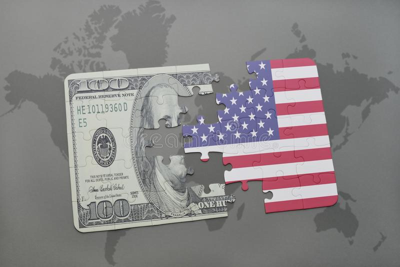 Ο γρίφος με τη εθνική σημαία των Ηνωμένων Πολιτειών της Αμερικής και το τραπεζογραμμάτιο δολαρίων σε έναν κόσμο χαρτογραφούν το υ ελεύθερη απεικόνιση δικαιώματος