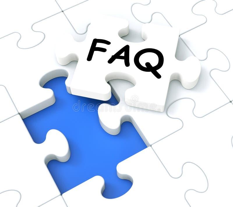 Ο γρίφος FAQ παρουσιάζει τις έρευνες και ερωτήσεις διανυσματική απεικόνιση