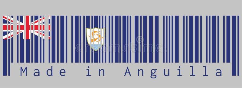 Ο γραμμωτός κώδικας έθεσε το χρώμα της σημαίας της Αγκουίλα, μπλε Ensign με τη βρετανική σημαία και της κάλυψης των όπλων της Αγκ ελεύθερη απεικόνιση δικαιώματος