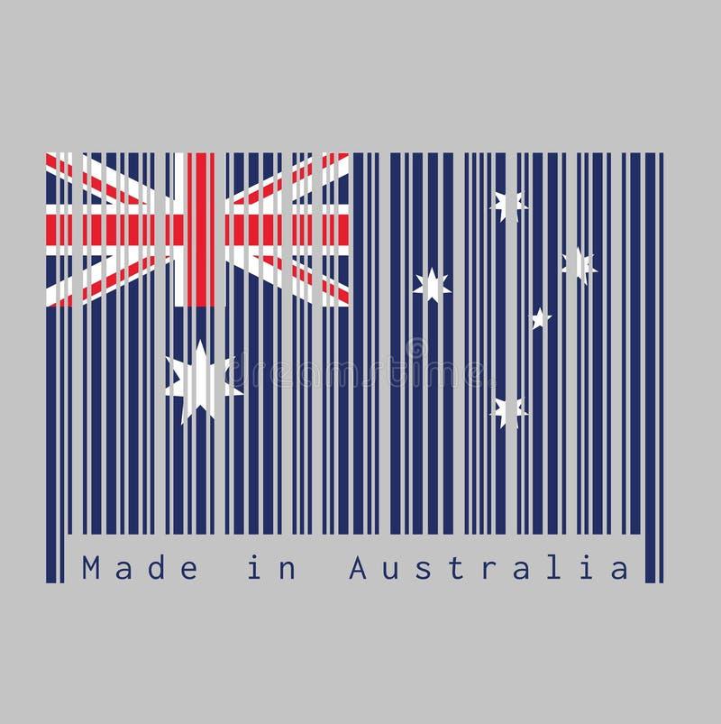Ο γραμμωτός κώδικας έθεσε το χρώμα της σημαίας της Αυστραλίας, το μπλε κόκκινο και άσπρο χρώμα με το άσπρα αστέρι και το Union Ja ελεύθερη απεικόνιση δικαιώματος